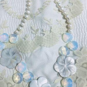 Freshwater Pearl, MotherofPearl, Opalite Necklace